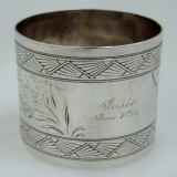 .Gorham Sterling Silver Bright Cut Napkin Ring 1880