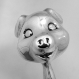 .Sterling Silver Figural Piggy Baby Rattle 1950