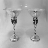 .Pair Of Compotes With Grape Motif Pedestals Sterling Silver De Matteo 1950