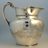 .Gorham Coin Silver Water Pitcher Grape Motif Providence 1860.