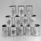 .Set Of 12 Sterling Silver Figural Shell Motif Napkin Rings London 1976