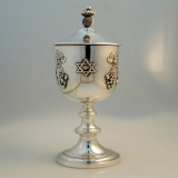 .Sterling Silver Kiddush Cup and Cover Grapevine Star of David Motif 1950
