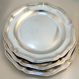 .French Sterling Silver Plates Louis XV Period Paris 1736
