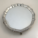 .Thomas Bradbury and Sons Footed Sterling Silver Tray Applied Beaded Border London 1893