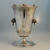 .Gorham Coin Silver Vase Lions Head Handles 1865