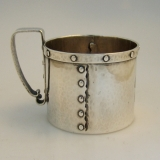 .Arts and Crafts Strapwork Mug Shreve and Co. San Francisco 1910 Sterling Silver
