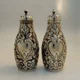 .American Sterling Silver Dominick and Haff Repousse Salt Pepper Shakers 1875