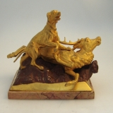 .Russian Gilt Bronze Statuette Figural Dog and Stag 1890