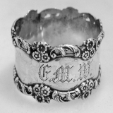.Floral Scroll Napkin Ring Open Work Sterling Silver 1900 Monogram FMW