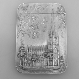 .Card Case Trinity Church Philadelphia Water Works 1850 Coin Silver