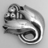 .Georg Jensen Tulip Brooch Pin 1945 Sterling Silver