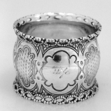 .Twisted Rope Napkin Ring  Engine Turned Coin Silver 1860 Wife