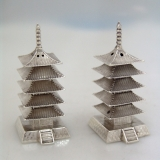 .Japanese Sterling Silver Salt and Pepper Pagodas 1920