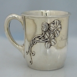 .Four Leaf Clover Baby Cup SHreve and Co San Francisco Sterling Silver 1900