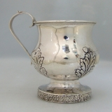 .American Coin Silver Baby Cup Floral Foliate Repousse 1826