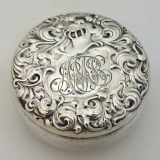 .Whiting Small Round Sterling Silver Box Heraldic Pattern Masschsettes 1880