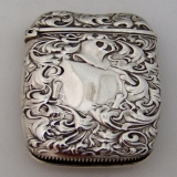 .American Sterling Silver Match Safe By Whiting Heraldic Pattern 1880