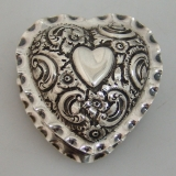 .Sterling Silver Heart Shaped Box Repousse Scroll Motif Birmingham 1891
