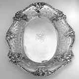 .American Sterling Silver Openwork Bread Tray Grape Motif 1910
