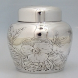 .Aesthetic Tea Caddy Butterfly Gorham 1887 Sterling Silver