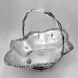 .Cake Basket Cut Work Shell Scroll Durgin 1900 Sterling Silver