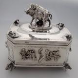 .Russian Imperial Boar Box Kiev Vyrzhikovsky 84 Standard Silver 1897
