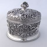 .Tiffany Sterling Silver Repousse Lidded Jar Westinghouse New York 1890