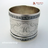 .Napkin Ring Applied Floral Border Coin Silver 1880