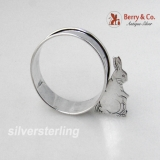 .Bunny Rabbit Napkin Ring Webster 1940 Sterling Silver