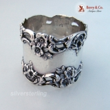 .Baroque Floral Open Work Scroll Napkin Ring Simons Sterling Silver 1890