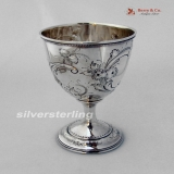 .Repousse Floral Scroll Goblet Thomas Evans 1860 Coin Silver
