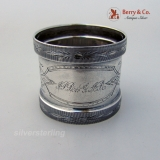 .Engraved Ivy Coin Silver Napkin Ring Matte Finish 1870