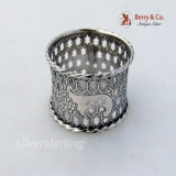 .Rope Border Star Cut Napkin Ring Coin Silver 1860