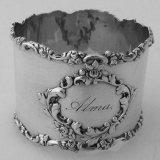 .Floral Scroll Baroque Napkin Ring American Sterling Silver Alma 1890