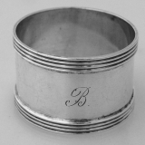 .Banded Napkin Ring Sterling Silver Watson 1900 Monogram B