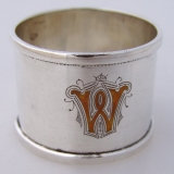 .Enamel Monogram W English Npkin Rings 1910 Sterling Silver