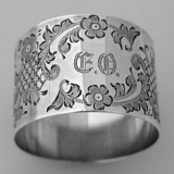 .Brite Cut Floral Scroll Napkin Ring Sterling Silver International 1910