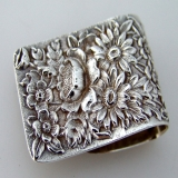 .Repousse Napkin Clips S Kirk and Son Sterling Silver 1940