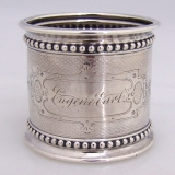 .Eugene Earl Napkin Ring Engine Turned Beaded Coin Silver 1865
