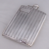 .Art Deco Large Hip Flask 1 Pint Birks No Monograms 1930 Sterling Silver