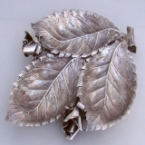 .Buccellati Rose 3 Leaf Sectional Serving Bowl 1970 Sterling Silver