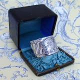 .French Baroque Napkin Ring Boxed Victor Dudiez 950 Sterling Silver 1885