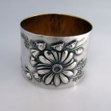 .Floral Repousse Silver Napkin Ring 1890