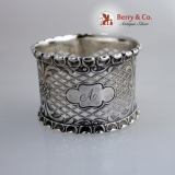 .Open Work Napkin Ring Applied Borders 1860 Monogram A