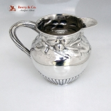 .Beer Jug Repousse Hops Barley Henry Haddock Coin Silver 1850