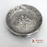 .Repousse Cherub 4 Butter Pats German 800 Silver 1890