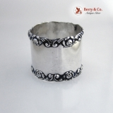.Rose And Scroll Sterling Silver Napkin Ring Wilcox 1905