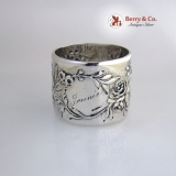 .Floral Repousse Napkin Ring Sterling Silver Whiting 1890