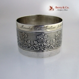.French Sterling Silver Engine Turned Napkin Ring 1910