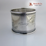 .Floral Engraved Coin Silver Napkin Ring 1880